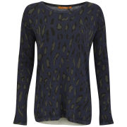 BOSS Orange Women's Ildiko Leopard Long Knit Jumper - Navy