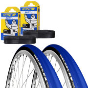 Veloflex Corsa 25 Clincher Road Tyre Twin Pack with 2 Free Inner Tubes - Blue 700 x 25mm