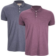 Brave Soul Men's Julius 2 Pack Marl Polo Shirt - Navy/Burgundy