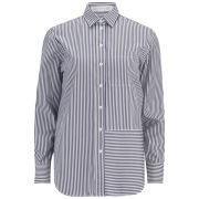 Victoria Beckham Women's Striped Man's Shirt - Blue/White Stripe