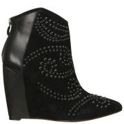 Lola Cruz Women's Tonal Studded Leather Wedged Ankle Boots - Black