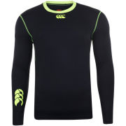 Canterbury Men's Baselayer Cold Fluro Trim Long Sleeve Top - Black/Fluro