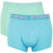 Bjorn Borg Seasonal Solids Men's 2 Pack Boxer Shorts - Blue Atoll