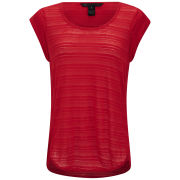 Marc by Marc Jacobs Women's Linen Burn Out Stripe T-Shirt - Red - L L Red