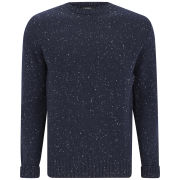 A.P.C. Men's 100% Superfine Donegal Wool Thick Round Neck Knit - Noir