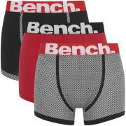 Bench Men's 3 Pack Fashion Trunks - Black/Black/Red