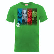 Marvel Avengers Assemble Team Strips Men's T-Shirt - Green