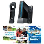 Nintendo Wii Console (Black): Bundle (Including Wii Sports Resort, Wii Sports, FIFA 12 and Wii RemotePlus)