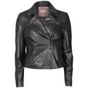 Barneys Women's Real Leather Biker Jacket - Black