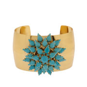 Martine Wester Statement Spiky Flower Cuff Bracelet - Gold/Turquoise