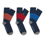 French Connection Men's 3-Pack Ace Colour Block Stripe Socks - Multi