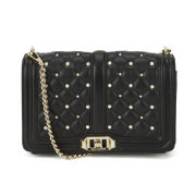 Rebecca Minkoff Leather Love Cross Body Bag with Pearls - Black