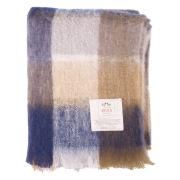Avoca Mohair M50 Throw (142 x 100cm) - Blue/Brown/Cream