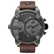 Diesel Men's Little Daddy 51mm Leather Watch - Gunmetal/Brown