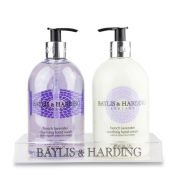 Baylis & Harding Mosaic French Lavender 2 Bottle Set in a Clear Acrylic Rack