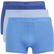 DKNY Men's 53100 Basics Hip Trunk 3 Pack - Classic Blue/Powder Blue/Estate Blue