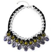 Love Rocks Floral Embellished Necklace - Black
