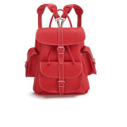 Grafea Red Hot Medium Leather Rucksack - Red
