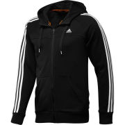 adidas Men's Essential 3 Stripe Full Zip Hoody - Black/White