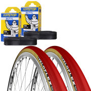 Veloflex Master 25 Clincher Road Tyre Twin Pack with 2 Free Inner Tubes - Red 700c x 23mm