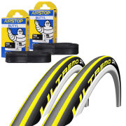 Vittoria Rubino Pro Tech Clincher Road Tyre Twin Pack with 2 Free Tubes - Black/Grey 700c x 23mm