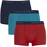 Tommy Hilfiger Men's Stew Trunks 3-Pack - Caribbean Sea/High Risk Red/Peacoat
