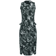 Matthew Williamson Women's Morris Print Fitted Neoprene Midi Peplum Dress - Black