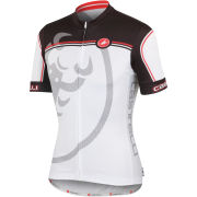 Castelli Velocissimo Giro Full Zip Jersey - White/Black/Red