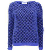 Moku Women's Fluffy Knit Jumper - Blue/Black