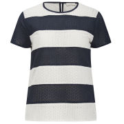 Paul by Paul Smith Women's Broderie Stripe Top - Navy Stipe