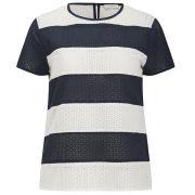 Paul by Paul Smith Women's Broderie Stripe Top - Navy Stipe