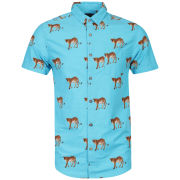 Brave Soul Men's Halen Cheeta Printed Short Sleeved Shirt - Turquoise