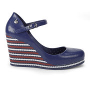 Mel Women's Popstar Striped Heeled Wedges - Navy