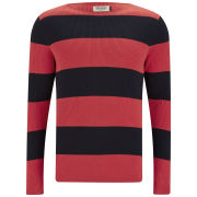 Jack & Jones Men's Thomas Striped Jumper - Navy/Red