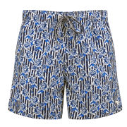 Ted Baker Men's Sadeson Floral Print with Stripe Swim Shorts - Blue