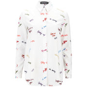 House of Holland Women's Embroidered Poplin Shirt - Scribble