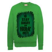 Marvel Avengers Assemble Hulk Stay Angry Men's Sweatshirt - Irish Green