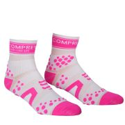 Compressport Pro Racing Socks - Run (Highcut) - White/Pink