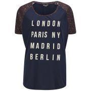 Maison Scotch Women's Oversized Slogan T-Shirt - Blue
