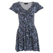 Damned Delux Women's Denim Butterfly Skater Dress - Blue
