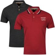 Slazenger Men's 2-Pack Polo Shirts - Berry/Black Marl