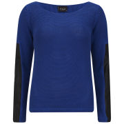 VILA Women's Diega PU Sleeve Jumper - Cobalt