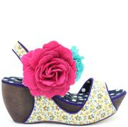Irregular Choice Women's Lady Passion Wedge Shoe - Blue/Beige