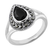 Silver Plated Pear Shaped Onyx Ring