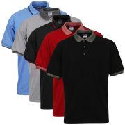 Gildan Men's 5-Pack Polo Shirts - Black/Grey/Red/Trim Black/Blue