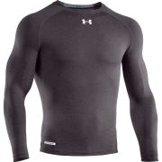 Under Armour Men's Heatgear Sonic Compression Long Sleeve Top - Carbon Heather/White