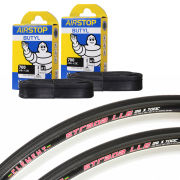 Clement Strada LGG Clincher Road Tyre 120 TPI Twin Pack with 2 Free Inner Tubes - Black - 700c x 23mm