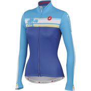 Castelli Women's Palma Long Sleeve Full Zip Jersey - Royal/Azure