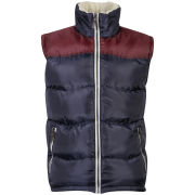 55 Soul Men's Rifle Sherpa Gilet - Navy/Burgundy