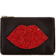 Lulu Guinness Women's Glitter Lip Top Zip Pouch - Black/Red